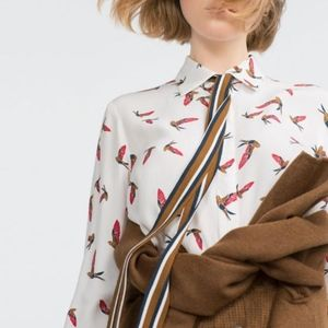 Zara Bird Print Button Up Top